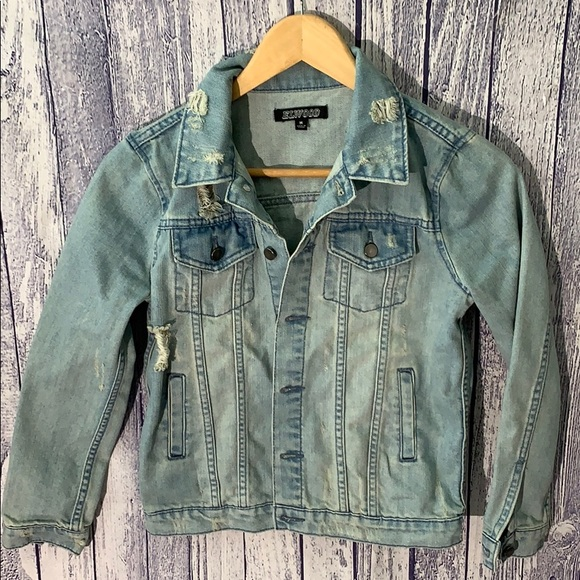 Elwood Other - Elwood Trucker Distressed Light Denim Jacket, Med